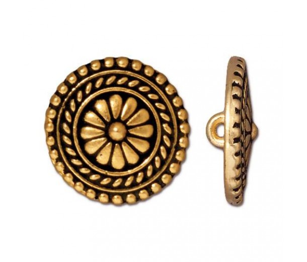 18mm Bali Button by TierraCast, Antique Gold, 1 Piece