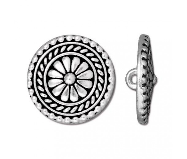 18mm Bali Button by TierraCast, Antique Silver