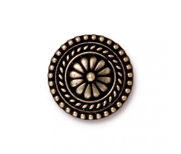 18mm Bali Button by TierraCast, Brass Oxide, 1 Piece