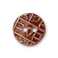 17mm Textured Coin Button by TierraCast, Antique Copper, 1 Piece