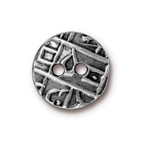 17mm Textured Coin Button by TierraCast, Antique Pewter, 1 Piece