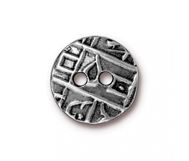 17mm Textured Coin Button by TierraCast, Antique Pewter