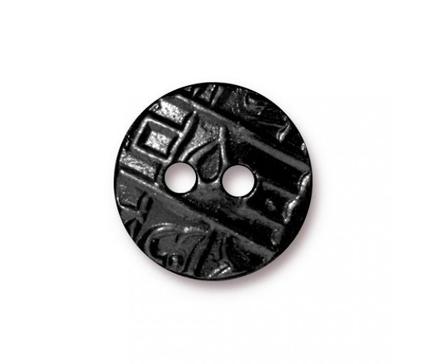 17mm Textured Coin Button by TierraCast, Black