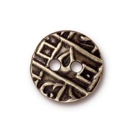 17mm Textured Coin Button by TierraCast, Brass Oxide
