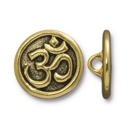 17mm Ohm Button by TierraCast, Antique Gold