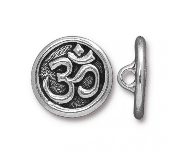 17mm Ohm Button by TierraCast, Antique Silver