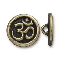 17mm Ohm Button by TierraCast, Brass Oxide, 1 Piece