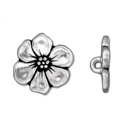 15mm Apple Blossom Button by TierraCast, Antique Silver