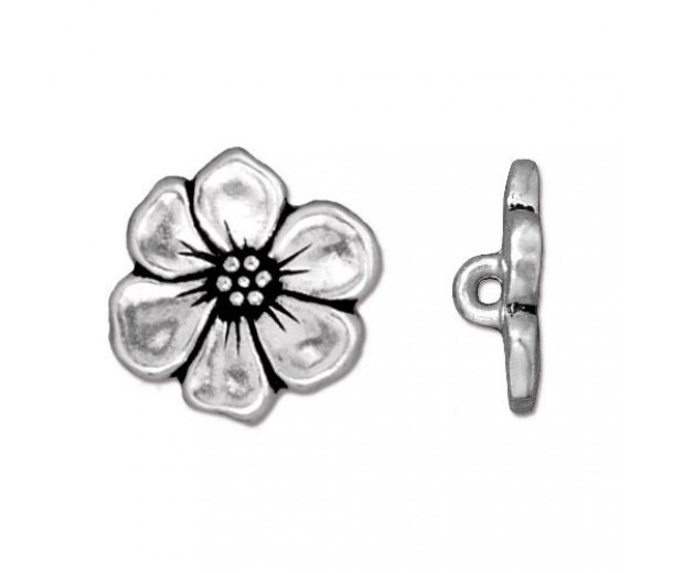 15mm Apple Blossom Button by Tierracast®, Antique Silver
