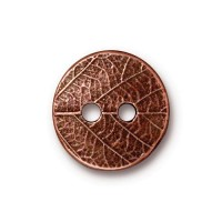 17mm Round Leaf Button by TierraCast, Antique Copper