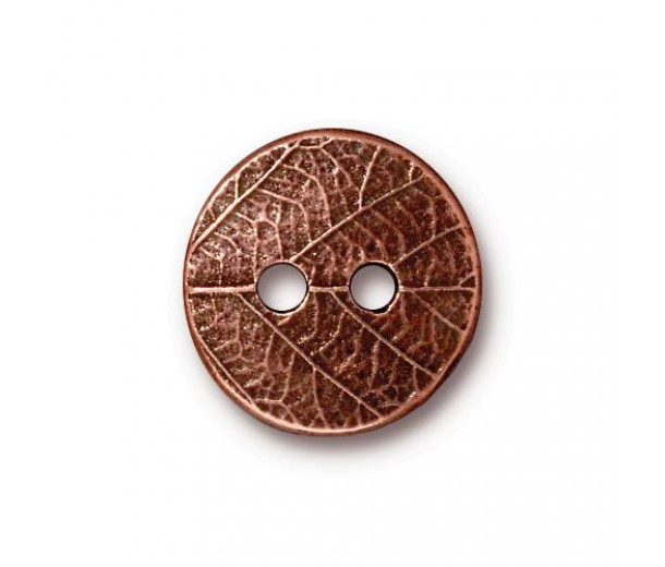 17mm Round Leaf Button by TierraCast, Antique Copper, 1 Piece