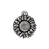 17mm Sunflower Drop by TierraCast, Antique Silver, 1 Piece