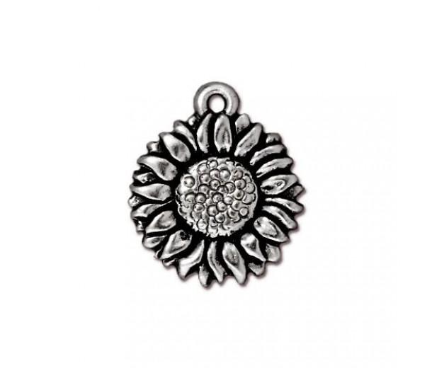 17mm Sunflower Drop by TierraCast, Antique Silver, 1 Piece