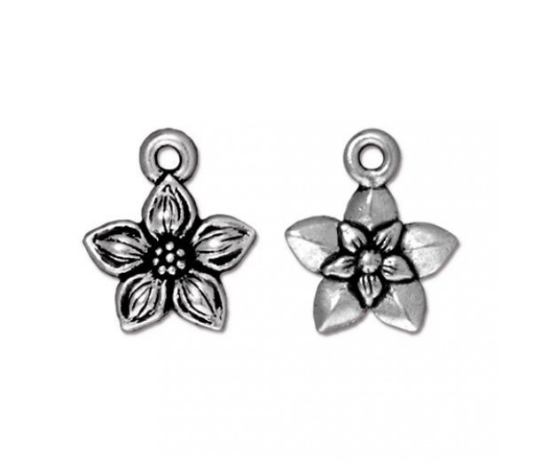 14mm Star Jasmine Drop by TierraCast, Antique Silver, 1 Piece