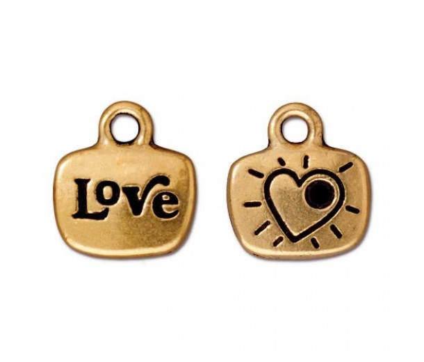 14mm Love Charm by TierraCast, Antique Gold, 1 Piece