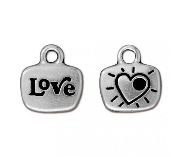 14mm Love Charm by TierraCast, Antique Silver, 1 Piece