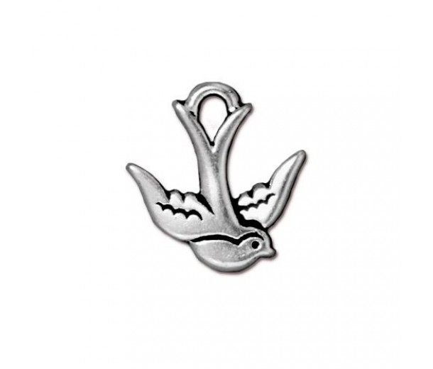 17mm Swallow Bird Drop by TierraCast, Antique Silver, 1 Piece