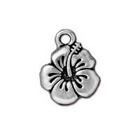 18mm Hibiscus Flower Drop by TierraCast, Antique Silver, 1 Piece
