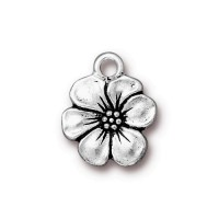 17mm Apple Blossom Drop by TierraCast, Antique Silver, 1 Piece