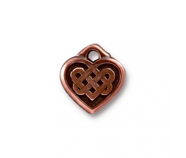 14mm Celtic Heart Drop by TierraCast, Antique Copper, 1 Piece