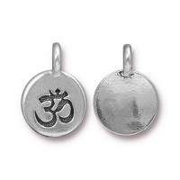 12mm Om Charm by TierraCast, Antique Silver