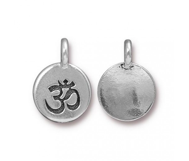 12mm Om Charm by TierraCast, Antique Silver, 1 Piece
