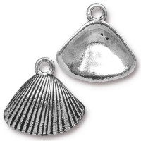 18mm Shell Drop by TierraCast, Antique Silver, 1 Piece