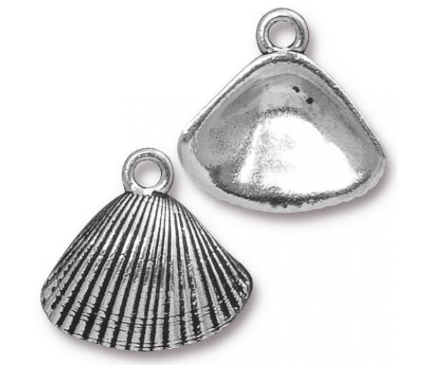 18mm Shell Drop by TierraCast, Antique Silver, 1 Piece