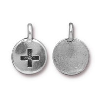 12mm Plus Charm by TierraCast, Antique Silver, 1 Piece