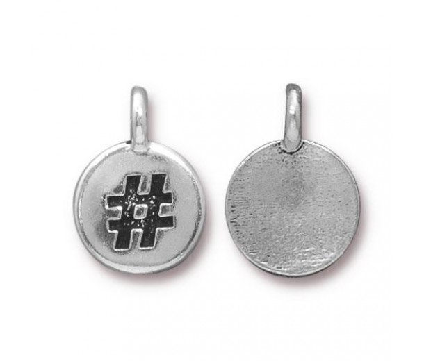 12mm Hashtag Charm by TierraCast, Antique Silver, 1 Piece