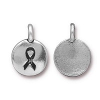 12mm Ribbon Charm by TierraCast, Antique Silver