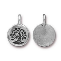 12mm Tree of Life Charm by TierraCast, Antique Silver, 1 Piece