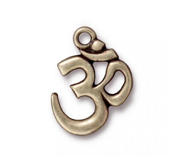 22x17mm Om Pendant by Tierracast®, Antique Brass