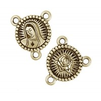 21x18mm Our Lady Rosary Link by TierraCast®, Antique Gold