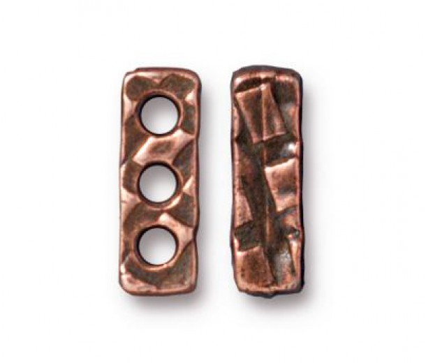 14x4mm Rock & Roll 3-Hole Spacer Bar by TierraCast, Antique Copper, Pack of 2