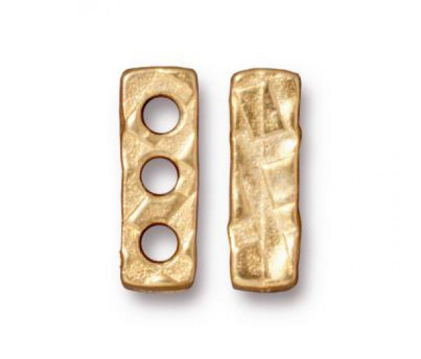 14x4mm Rock & Roll 3-Hole Spacer Bar by TierraCast, Bright Gold, Pack of 2