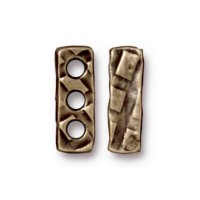 14x4mm Rock & Roll 3-Hole Spacer Bar by TierraCast, Brass Oxide