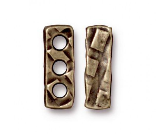 14x4mm Rock & Roll 3-Hole Spacer Bar by TierraCast, Brass Oxide, Pack of 2