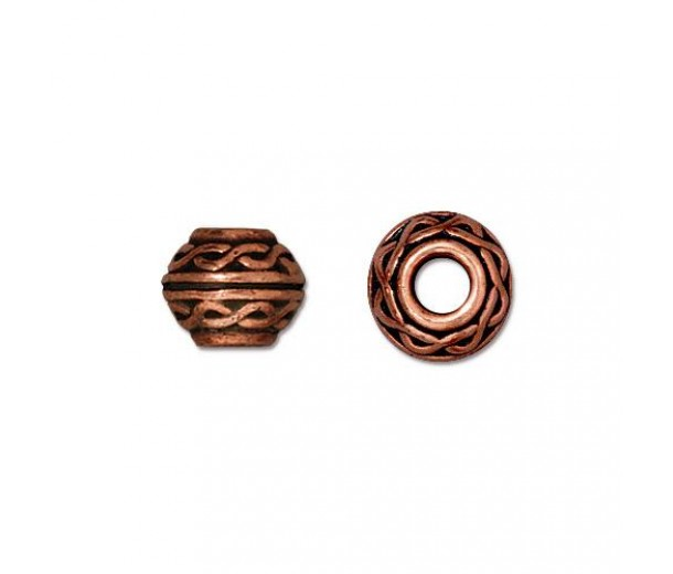 9mm Celtic Large Hole Spacer by TierraCast, Antique Copper, Pack of 4