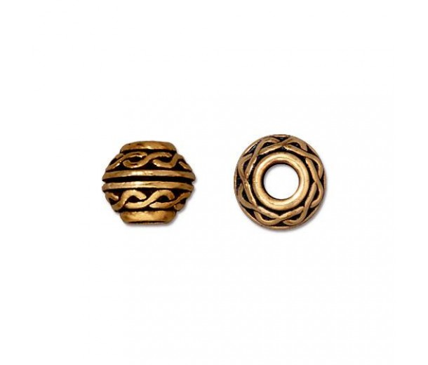 9mm Celtic Large Hole Spacers by TierraCast, Antique Gold, Pack of 4