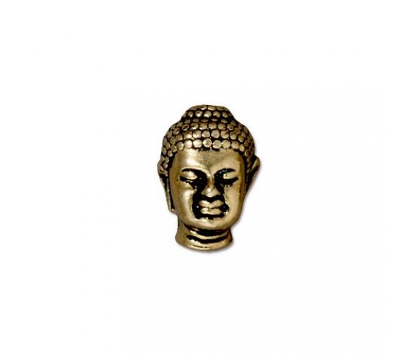 14mm Buddha Bead by TierraCast, Antique Gold, 1 Piece