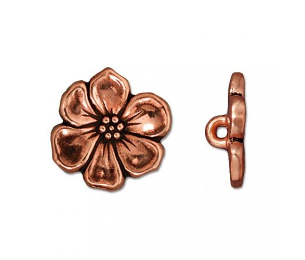 16mm Apple Blossom Button by TierraCast, Antique Copper