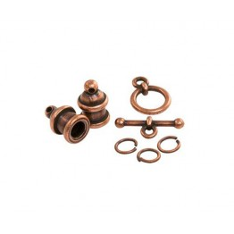 Pagoda Cord End Set by TierraCast for 4mm Cord, Antique Copper
