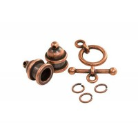 Pagoda Cord End Set by TierraCast for 6mm Cord, Antique Copper