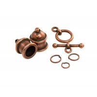 Pagoda Cord End Set by TierraCast for 8mm Cord, Antique Copper