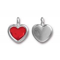 -16x13mm Birthstone Heart Charm by TierraCast, Rhodium Plated Light Siam