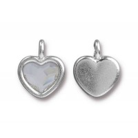16x13mm Birthstone Heart Charm by TierraCast, Rhodium Plated Crystal
