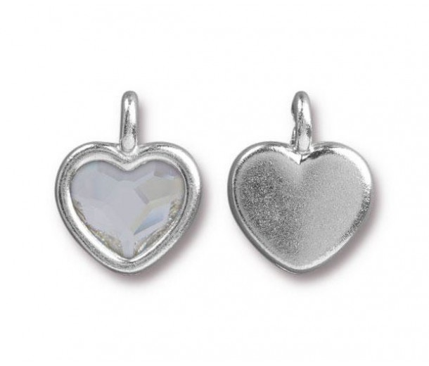 16x13mm Birthstone Heart Charm by Tierracast®, Rhodium Plated Crystal