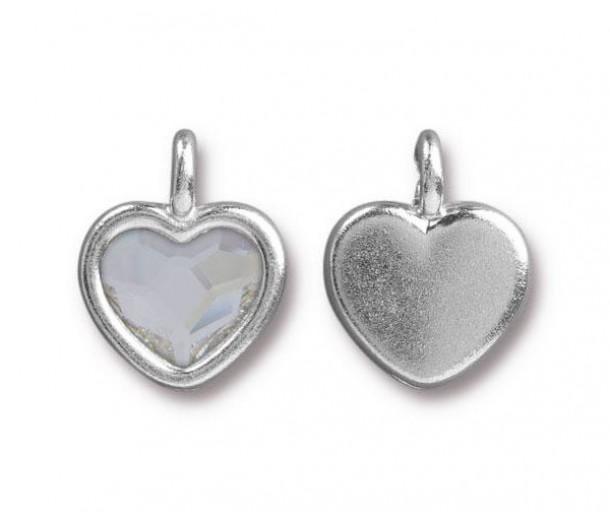 16x13mm Birthstone Heart Charm by TierraCast, Rhodium Plated Crystal