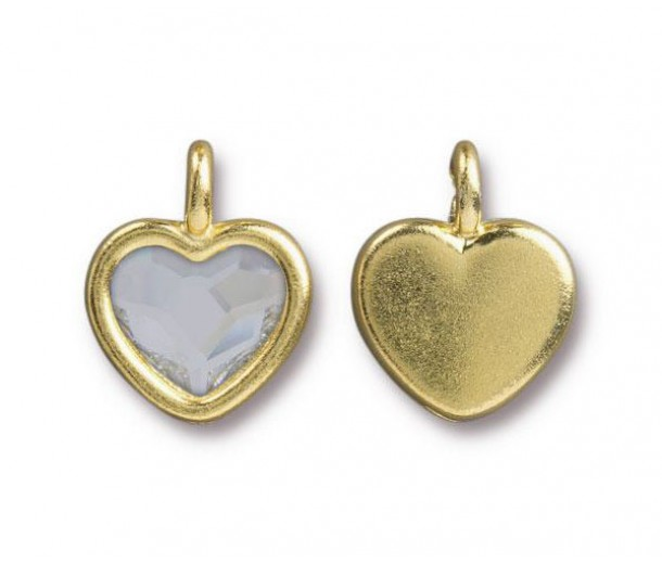 16x13mm Birthstone Heart Charm by TierraCast, Gold Plated Crystal